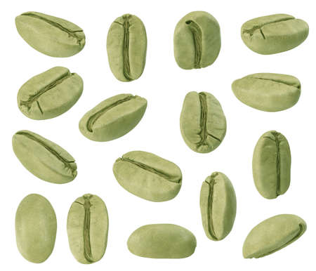 Set of green coffee beans from different sides