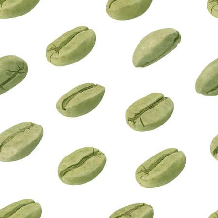 Coffee pattern set with green coffee beans 3D illustration 版權商用圖片