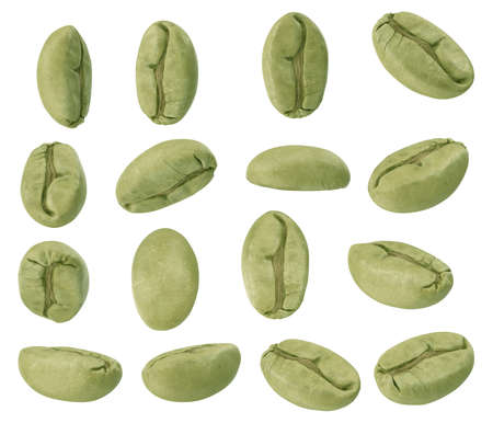 Set of green coffee beans in different angles