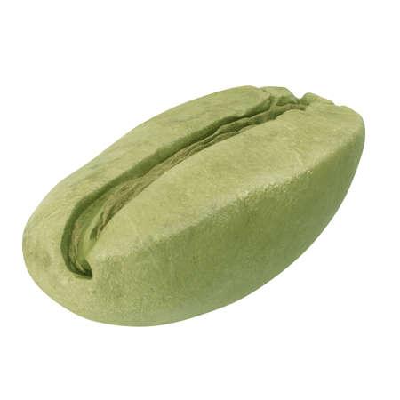 Green coffee bean on white background. 3D illustration 版權商用圖片