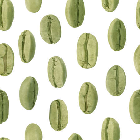 seamless pattern with green coffee beans. 3D illustration Фото со стока