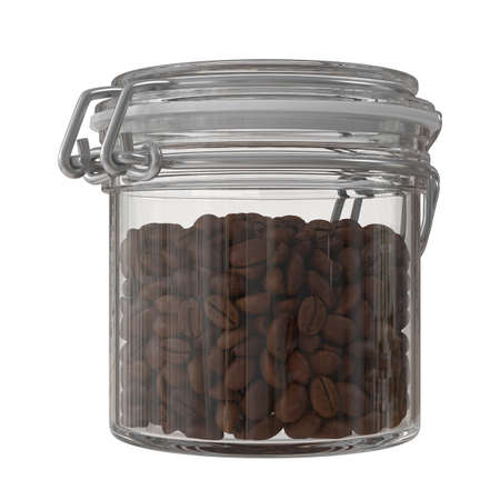 Coffee beans in a glass jar. Close up, isolated, white background. 3D illustration