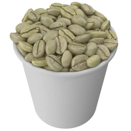 Paper cup with raw coffee beans. 3d illustration