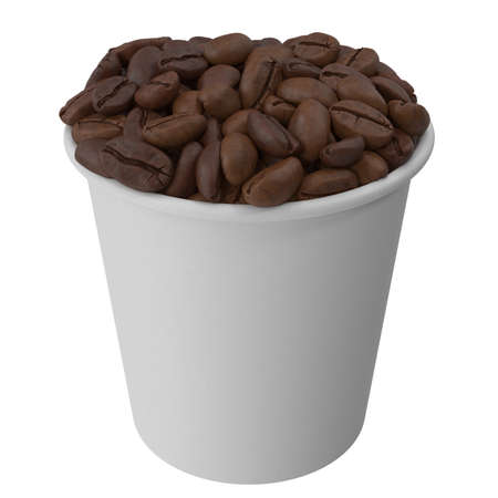 Paper cup with roasted coffee beans. 3d illustration 版權商用圖片