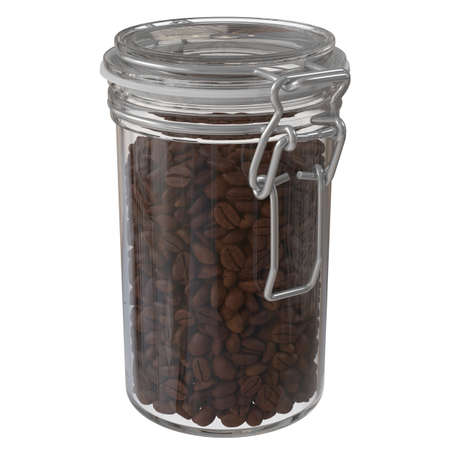bottle of coffee beans, glass storage jar isolated on white background. 3D illustration 版權商用圖片 - 167528154