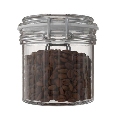 Coffee Beans in a Glass Canister. 3D illustration
