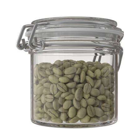 Green coffee beans in a glass jar. 3d illustration