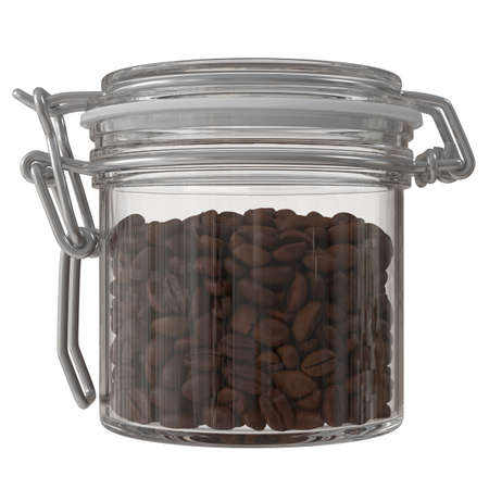Freshly roasted coffee beans in a glass jar. 3D illustration