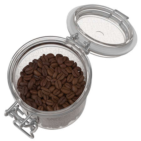 Top View of Coffee Beans In A Glass Jar. 3D illustration