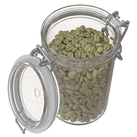 Green coffee beans in a glass jar. 3d illustration 版權商用圖片 - 167528180