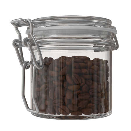 Glass jar with coffee beans isolated. 3D illustration 版權商用圖片