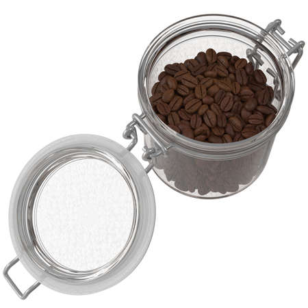 Coffee beans in a glass jar on a white background. 3D illustration