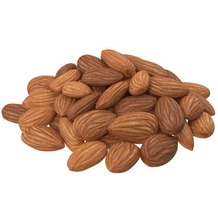 Closeup almond nuts isolated on white background. 3d illustration Фото со стока
