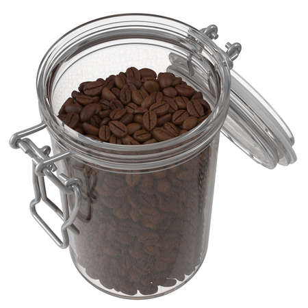 Roasted Coffee Beans In A Glass Jar. 3D illustration