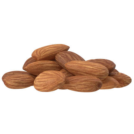 Group Almonds isolated on white background. 3d illustration Фото со стока