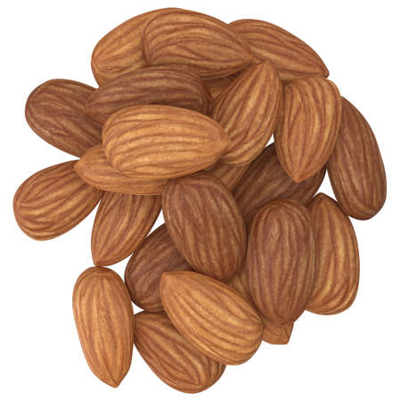 High Angle View Of Almonds On White Background. 3d illustration Фото со стока