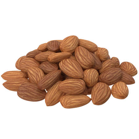 Almonds isolated on white background. 3d illustration