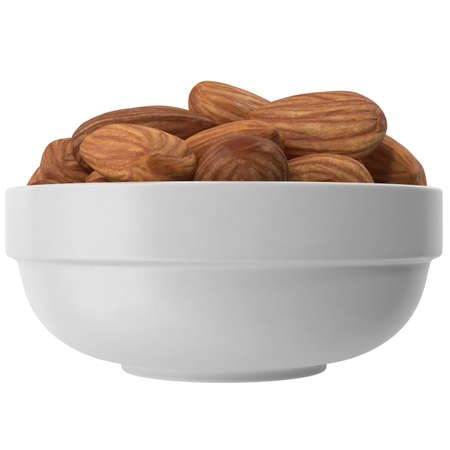 Almonds on a plate on a white background