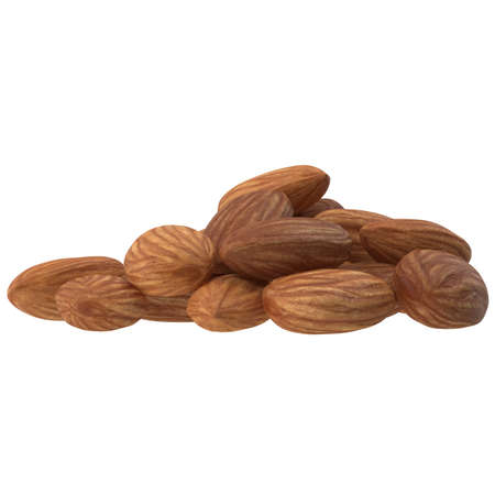 Almonds on white background. 3d illustration