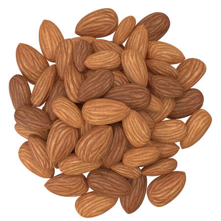 High Angle View Of Almonds On White Background. Flat lay. 3d illustration