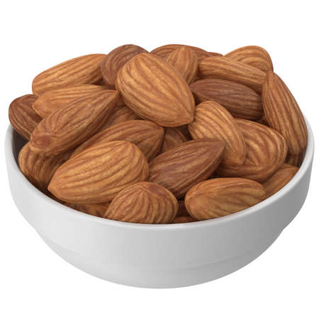 Almonds In A Plate Isolated On A White Background