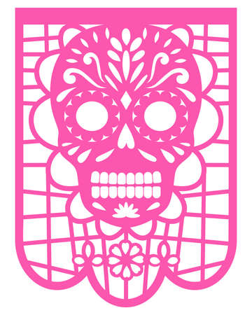 Festival colorful paper garland. Mexican Papel Picado design. Decorative papel picado with skull for Halloween or Dia De Los Muertos.