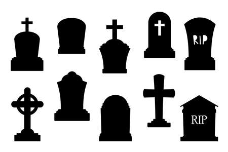 Tombstone silhouette set for Halloween. Dark gravestone icons set isolated on white background
