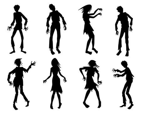 Zombie silhouettes set. Halloween icons set isolated. Zombie horror people silhouettes.