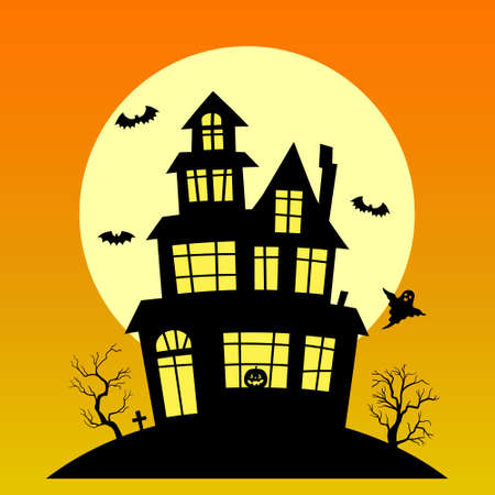 Halloween background with haunted house. Happy Halloween background with pumpkin, haunted house and full moon