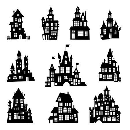 Halloween spooky castle silhouette design. Haunted castle silhouette design collection
