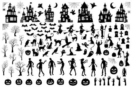 Set of silhouettes of Halloween on a white background