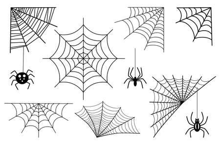 Spider web set. Cartoon spider web collection set. Set of spider web for Halloween