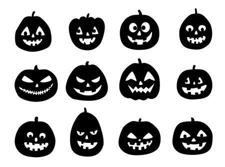Set of a scary Halloween pumpkin. Jack O Lantern Silhouettes. Set of Halloween silhouettes on white background.