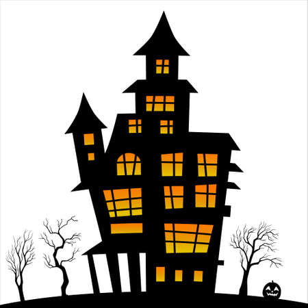 Illustration of silhouette a scary house. Haunted house silhouette theme image. Halloween house Vettoriali