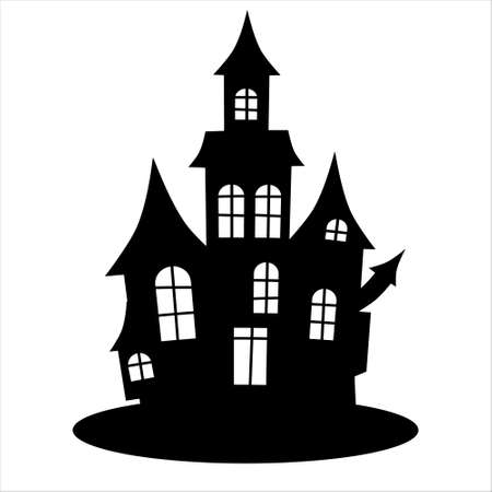 Haunted house silhouette. Halloween haunted house
