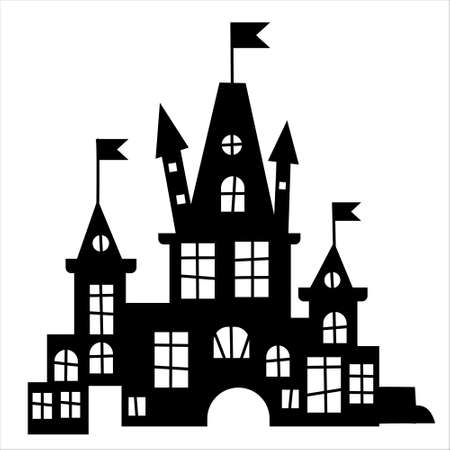 Halloween haunted house. Silhouette of a castle. Halloween Haunted house.