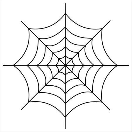 Halloween spider web isolated on white background. Scary spiderweb of halloween symbol.