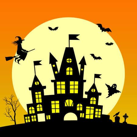 Witch flying on broomstick and old haunted house silhouette in front of the big moon Happy Halloween background with pumpkin, haunted house and full moon