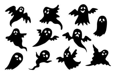 Set of ghosts. Collection of ghosts for Halloween. Set of black ghosts` silhouettes isolated on white background.