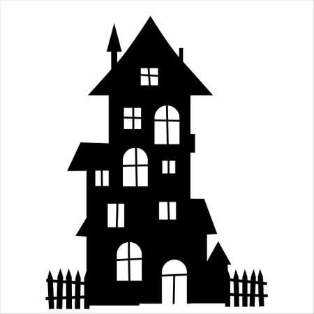 Spooky house. Halloween haunted house. Vettoriali