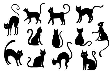 Halloween cats silhouette. Black cat silhouettes isolated on white background