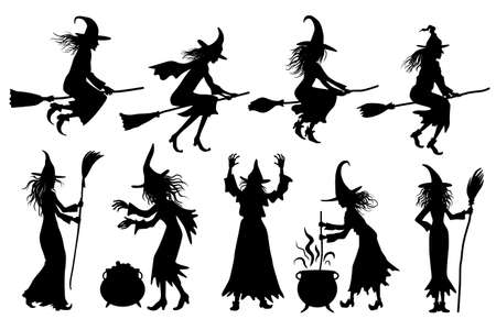 Halloweens witches silhouettes set. Vector illustrations