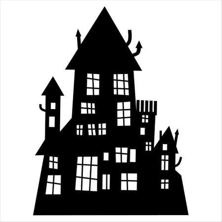 Haunted house silhouette theme image. Halloween house