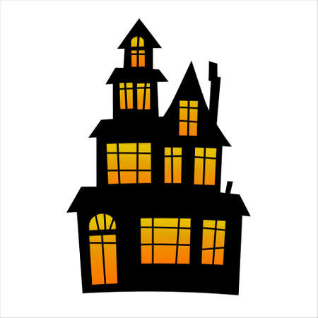 Haunted house silhouette. Mystical house and ghost for Halloween.