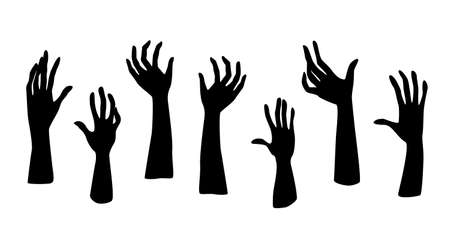 Zombie Hand Silhouette set. Halloween icons set. Collection for halloween themes. Set of zombie hands Vettoriali