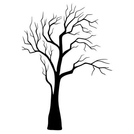 tree in Halloween festival, tree halloween symbol. Silhouette trees illustration design on white background.