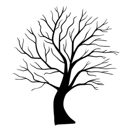 scary tree silhouette. Silhouette trees illustration design on white background.
