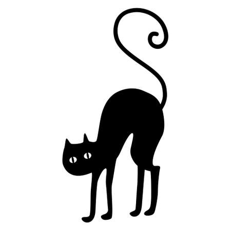 Black cat silhouette. silhouette of a cat on a white background. Black cat, scary Halloween illustration. Vettoriali