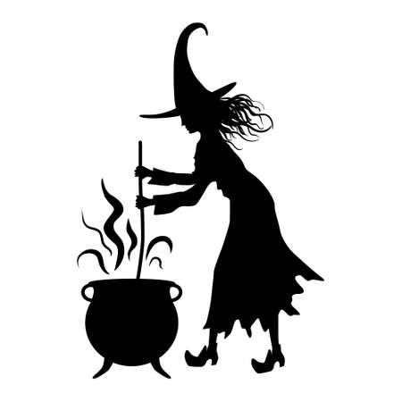 Silhouette of a witch, Halloween decoration Vettoriali