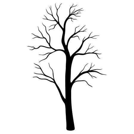 Dead Tree Silhouette. tree in Halloween festival, Silhouette trees illustration design on white background. Vettoriali